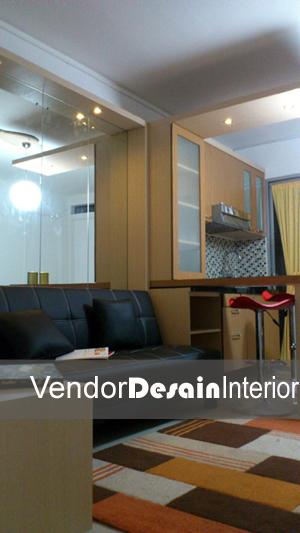 Jasa Interior Desain Jakarta memanfaatkan tembok menjadi meja Ruang tamu dan Dapur