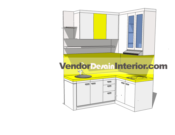 Desain Awal Dapur Kuning Putih