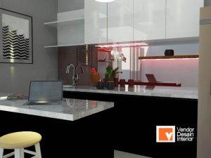 Kitchen Set Hitam Putih Kebayoran Jakarta Selatan