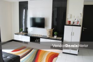 Desain Interior The Wave Apartemen, Ruang Utama Display TV - Copy