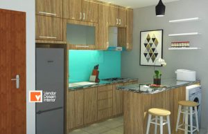 Dapur Coklat Muda Apartemen Moi Kelapa Gading