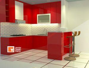 Interior Desain Dapur Kitchen Set Merah Jakarta Pusat
